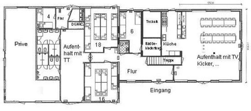 Grundrisse von der Gruppenunterkunft 00310179 Gruppenhaus DEN HOORN in Dänemark 1797 Texel - Den Hoorn für Jugendfreizeiten