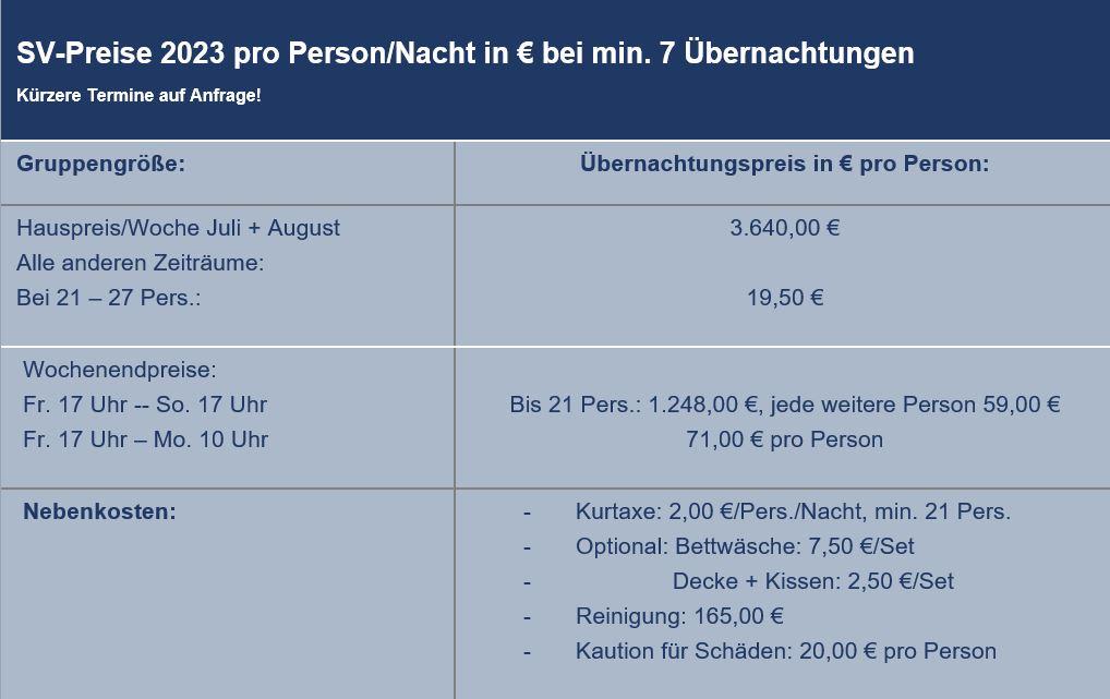 Preisliste vom Gruppenhaus 03313076 Gruppenhaus OOSTKAPELLE - HOOFDGEBOUW  in Niederlande 4356 Oostkapelle für Gruppenreisen