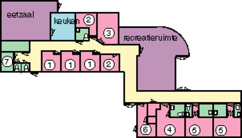 Grundrisse von der Gruppenunterkunft 03313078 5 Sterne Gruppenhaus KLAPROOS ***** in Dänemark 4323 LC Ellemeet für Jugendfreizeiten