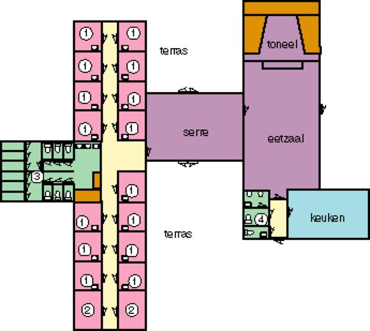 Grundrisse von der Gruppenunterkunft 03313079 Gruppenhaus BOTERBLOEM in Dänemark NL-4323 ELLEMEET für Jugendfreizeiten