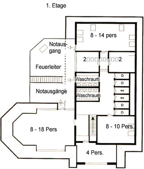 Grundrisse von der Gruppenunterkunft 03313139 Gruppenhaus DE VEENHORST in Dänemark NL-9475 MIDLAREN für Jugendfreizeiten
