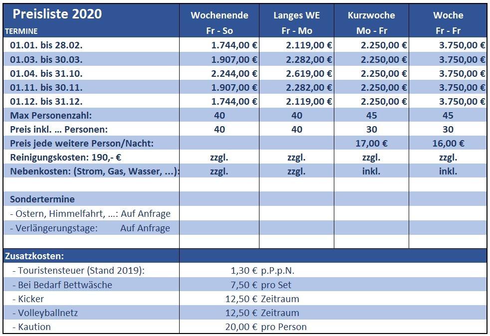 Preisliste vom Gruppenhaus 03313280 Gruppenhaus GEERSHOF in Niederlande 4851 Ulvenhout für Gruppenreisen