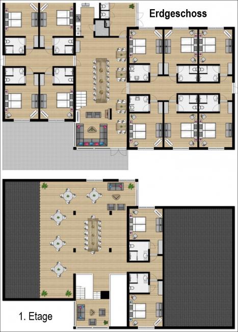 Grundrisse von der Gruppenunterkunft 03313834 Gruppenhaus WENNAKER in Dänemark 9514 Gasselternijveen für Jugendfreizeiten