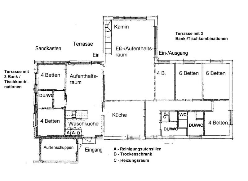 Grundrisse von der Gruppenunterkunft 03453108 Gruppenhaus PLETTEN in Dänemark 6094 Hejls für Jugendfreizeiten