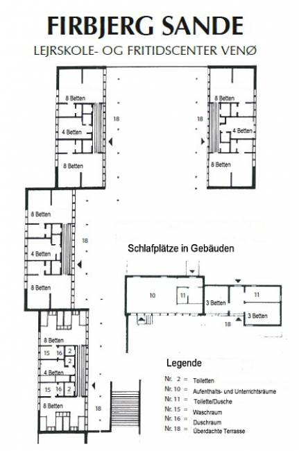 Grundrisse von der Gruppenunterkunft 03453114 Gruppenhaus FIRBJERGSANDE in Dänemark 7600 Struer für Jugendfreizeiten