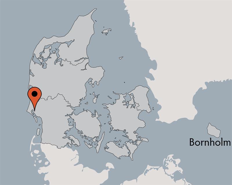 Karte von der Gruppenunterkunft 03453150 Ferienhaus SKOVHYTTERNE I MARBÆK in Dänemark 6710 Esbjerg für Kinderfreizeiten