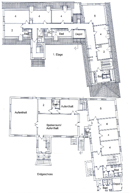 Grundrisse von der Gruppenunterkunft 03453427 Gruppenhaus TANNISBUGT in Dänemark 9881 Bindslev für Jugendfreizeiten