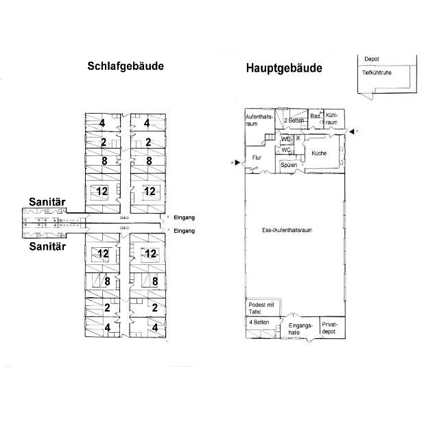Grundrisse von der Gruppenunterkunft 03453450 Gruppenhaus KONGELEJREN in Dänemark 4560 VIG für Jugendfreizeiten