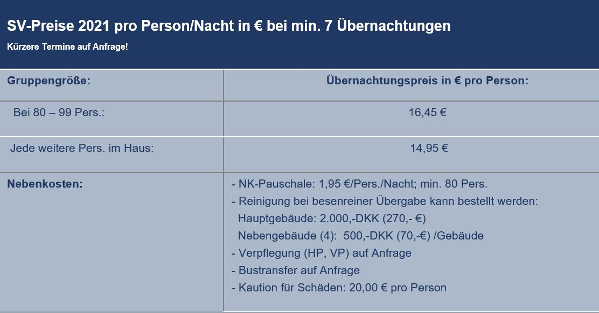 Preisliste vom Gruppenhaus 03453677 Gruppenhaus VISBY FRITIDSCENTER in Dänemark 6261 Bredebro für Gruppenreisen