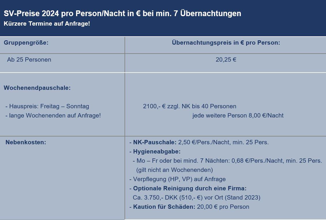 Preisliste vom Gruppenhaus 03453814 KLK-Gruppenhaus - EGILSHOLM in Dänemark 3720 Svaneke für Gruppenreisen