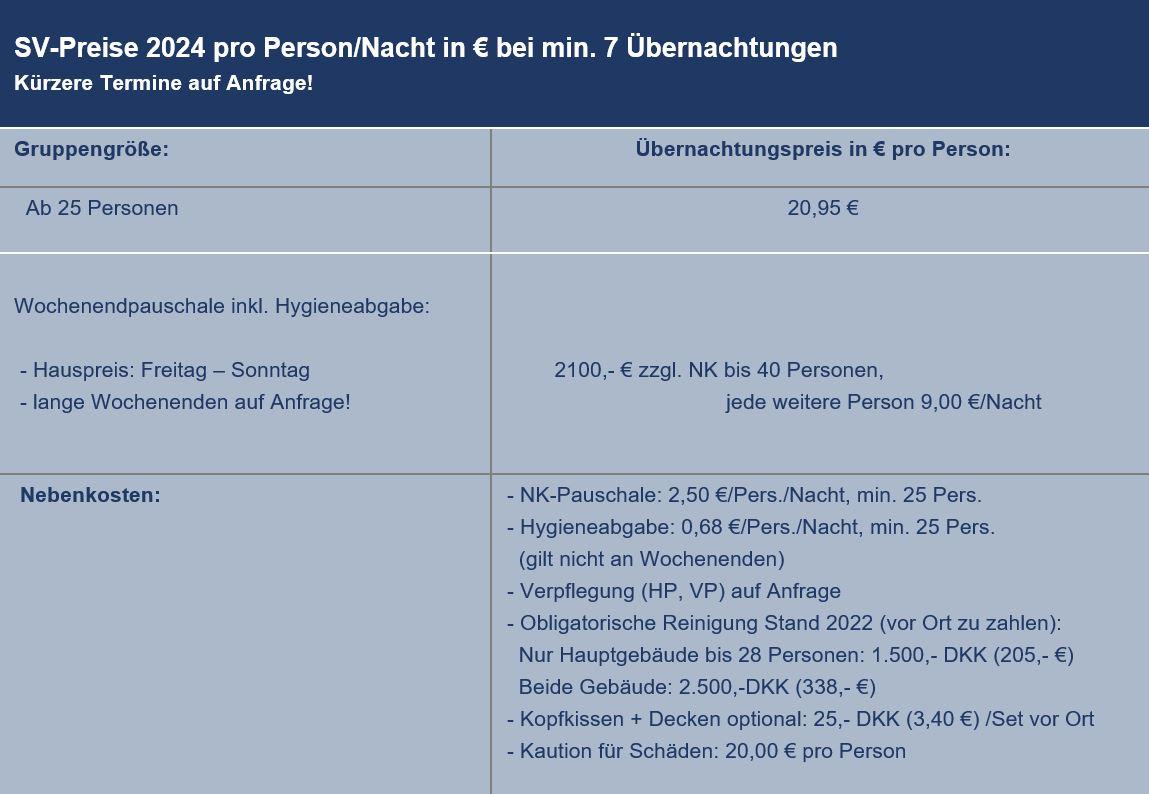 Preisliste vom Gruppenhaus 03453822 KLK-Gruppenhaus -  LILLE OKSEØ in Dänemark 6340 Krusaa für Gruppenreisen
