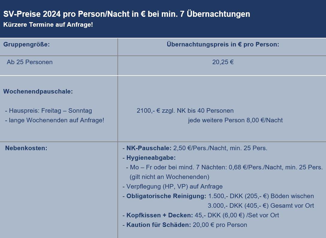 Preisliste vom Gruppenhaus 03453823 KLK-Gruppenhaus - ALHAGE in Dänemark 8400 Ebeltoft für Gruppenreisen