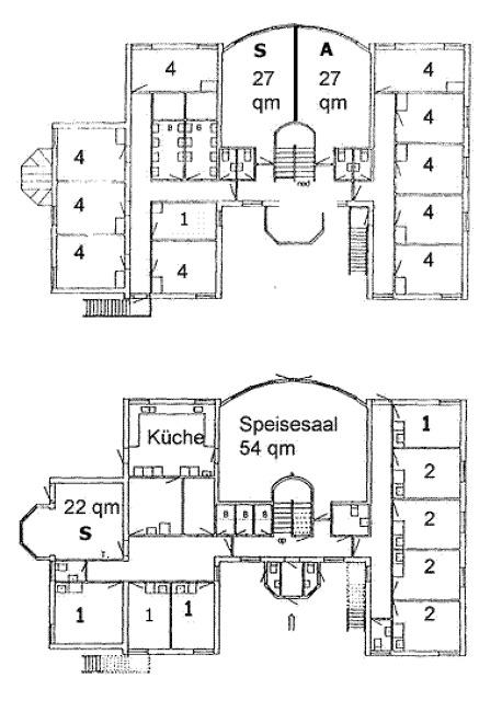 Grundrisse von der Gruppenunterkunft 03453824 Ehem. KLK-Gruppenhaus HENNE-Bad in Dänemark 6854 Henne für Jugendfreizeiten