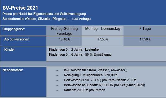 Preisliste vom Gruppenhaus 03493044 Gruppenhaus BAD RIPPOLDSAU in Deutschland D-77776 BAD RIPPOLDSAU für Gruppenreisen