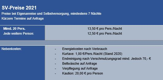 Preisliste vom Gruppenhaus 03493264 Gruppenhaus MOOSBACH in Deutschland 92709 Moosbach - Bayern für Gruppenreisen