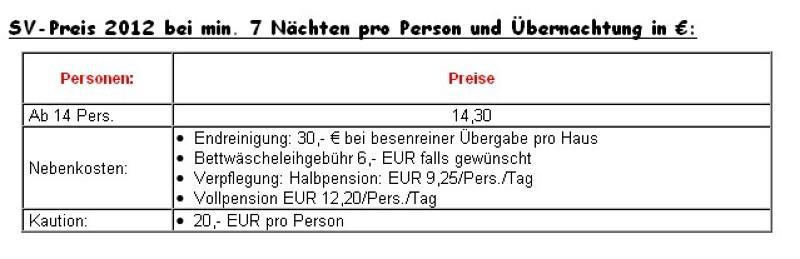 Preisliste vom Gruppenhaus 03493352 Gruppenhaus JUGENDDORF BERLIN in Deutschland D-12589 BERLIN für Gruppenreisen