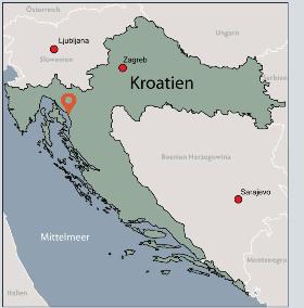 Karte von der Gruppenunterkunft 00380602 Gruppenhaus PORTO TEPLO in Dänemark 51520 Novi Vinodolski für Kinderfreizeiten