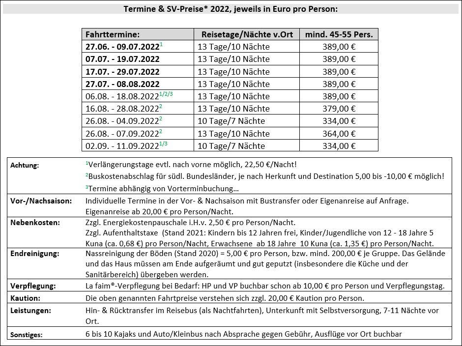 Preisliste vom Gruppenhaus 00380602 Gruppenhaus PORTO TEPLO in Kroatien 51520 Novi Vinodolski für Gruppenreisen