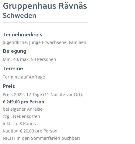 Preisliste vom Gruppenhaus 04464171 Gruppenhaus RÄVNÄS in Schweden 73060 Rämnäs für Gruppenreisen