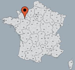 Karte von der Gruppenunterkunft 05335215 Gruppenhaus  ALTE MÜHLE ARRONDEAU in Dänemark F-53140 St Calais du Désert für Kinderfreizeiten