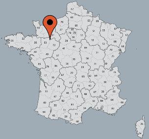 Karte von der Gruppenunterkunft 05335233 Gruppenhaus GITE VILLAINES-LA-JUHEL in Dänemark F-53700 Villaines-La-Juhel für Kinderfreizeiten