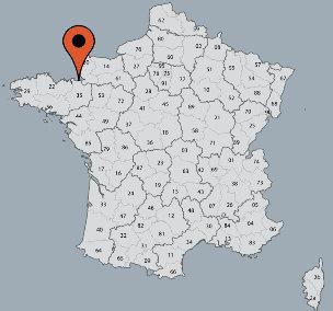 Karte von der Gruppenunterkunft 05335236 Gruppenhaus  ROZ-SUR COUESNON I in Dänemark F-35610 Roz sur Couesnon für Kinderfreizeiten