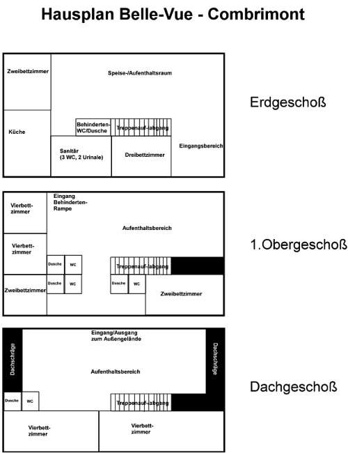 Grundrisse von der Gruppenunterkunft 05335300 Gruppenhaus BELLE VUE in Dänemark F-88490 Combrimont für Jugendfreizeiten