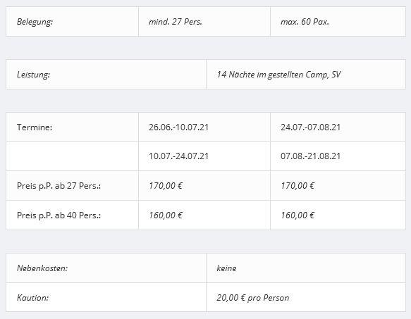Preisliste vom Gruppenhaus 05335311 Campingplatz VUILLAFANS I in Frankreich F-25840 Vuillafans für Gruppenreisen