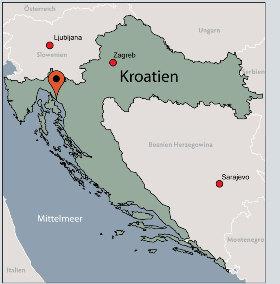 Karte von der Gruppenunterkunft 00380611 Gruppenmotel CRIKVENICA in Dänemark  Crikvenica für Kinderfreizeiten