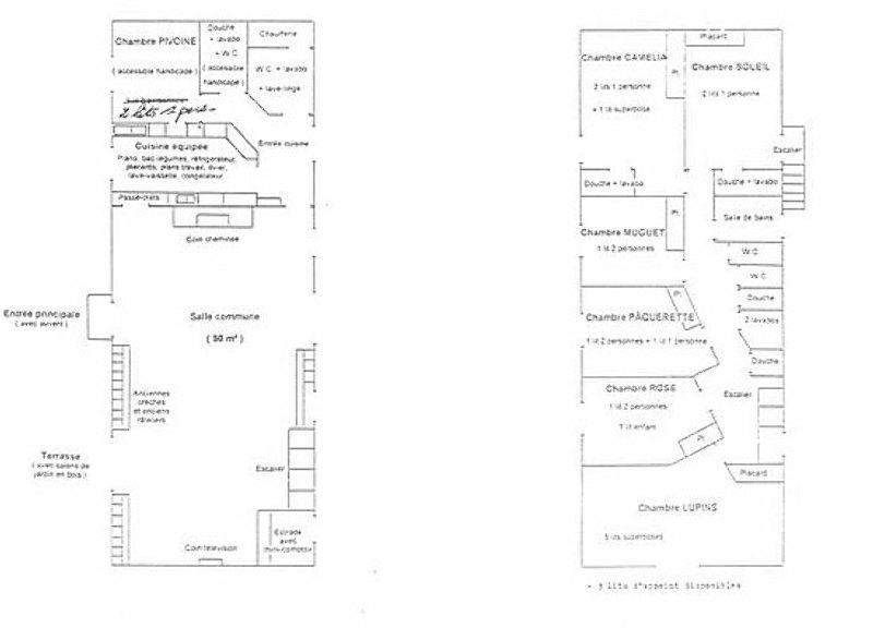 Grundrisse von der Gruppenunterkunft 05335313 Gruppenhaus TOULON SUR ARROUX - LA DEFRICHE in Dänemark F-72320 Toulons sur Arroux für Jugendfreizeiten