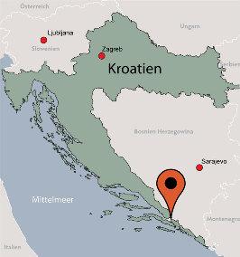Karte von der Gruppenunterkunft 05375387 Ehemaliges Hotel LAV in Dänemark BIH-88390 Neum für Kinderfreizeiten