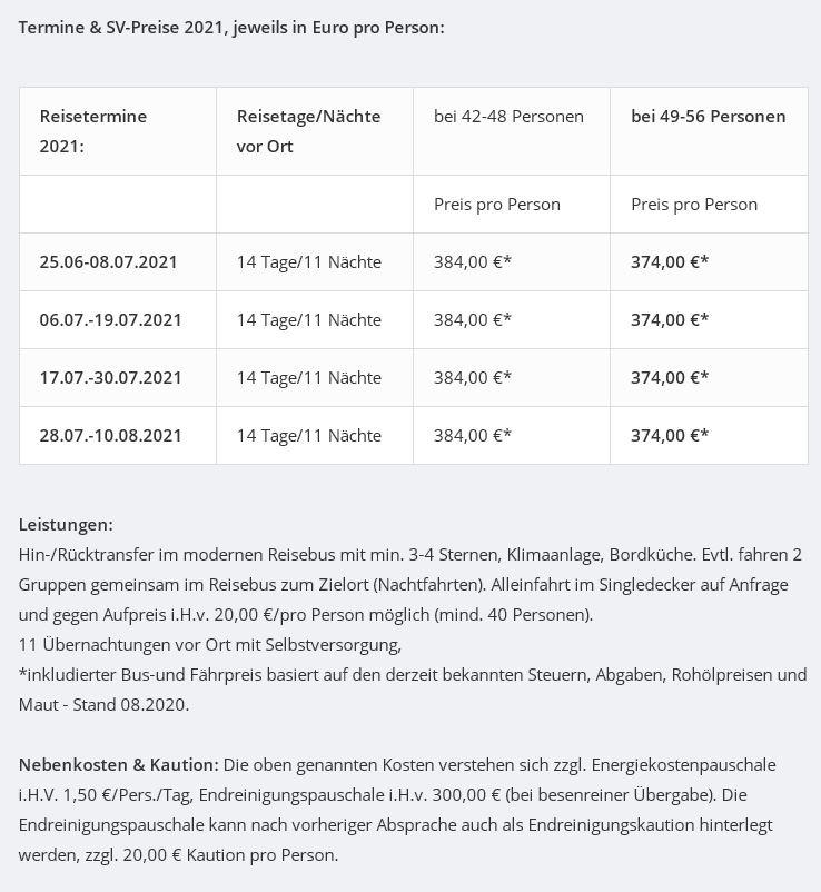 Preisliste vom Gruppenhaus 05465001 Gruppenhaus HÄSTHAGEN in Schweden S-13133 Hästhagen für Gruppenreisen