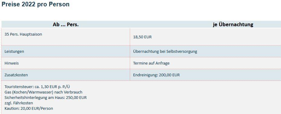 Preisliste vom Gruppenhaus 07317008 Gruppenhaus HOLLUM in Niederlande 9161 HOLLUM für Gruppenreisen