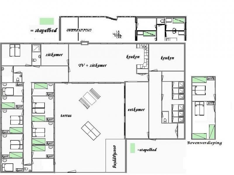 Grundrisse von der Gruppenunterkunft 07317035 Gruppenhaus DE BRINK in Dänemark 5844 Stevensbeek für Jugendfreizeiten