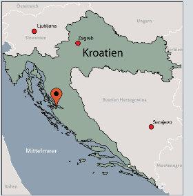 Karte von der Gruppenunterkunft 05385300 Gruppenhaus LJUBAC in Dänemark HR 23248 LJUBAC für Kinderfreizeiten