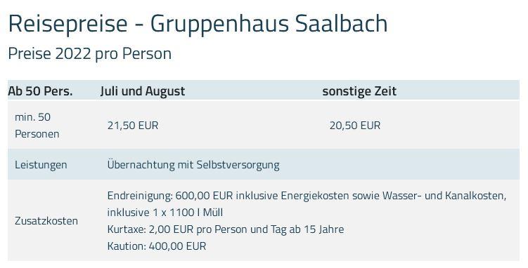Preisliste vom Gruppenhaus 07437023 Gruppenhaus NIEDEREGG in Österreich A-5753 SAALBACH-HINTERGLEMM für Gruppenreisen