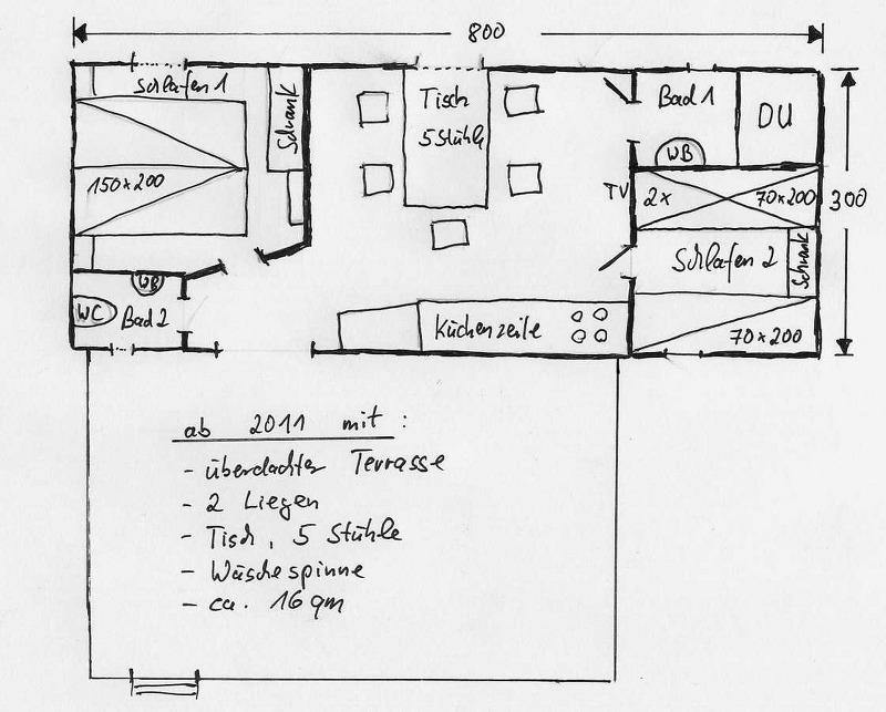 Grundrisse von der Gruppenunterkunft 00390150 ZEBU Mobilhomes TOSKANA in Dänemark I-58100 Grosseto /Le Marze für Jugendfreizeiten