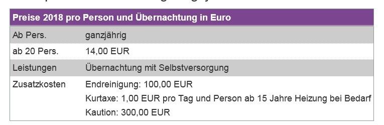 Preisliste vom Gruppenhaus 07437029 Gruppenhaus STUMMBERG in Österreich A-6276 Stummerberg im Zillertal für Gruppenreisen