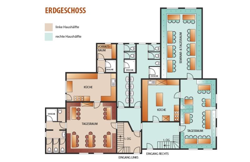 Grundrisse von der Gruppenunterkunft 07437039 Gruppenhaus HIRSCHEGG in Dänemark 87568 Hirschegg für Jugendfreizeiten