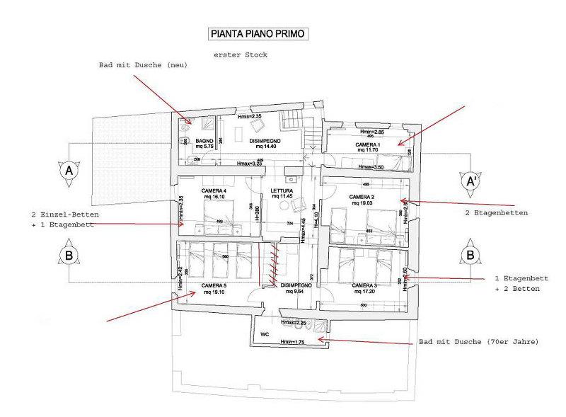 Grundrisse von der Gruppenunterkunft 05395531 Gruppenhaus LE CAMPORA in Dänemark 50032 Borgo San Lorenzo für Jugendfreizeiten