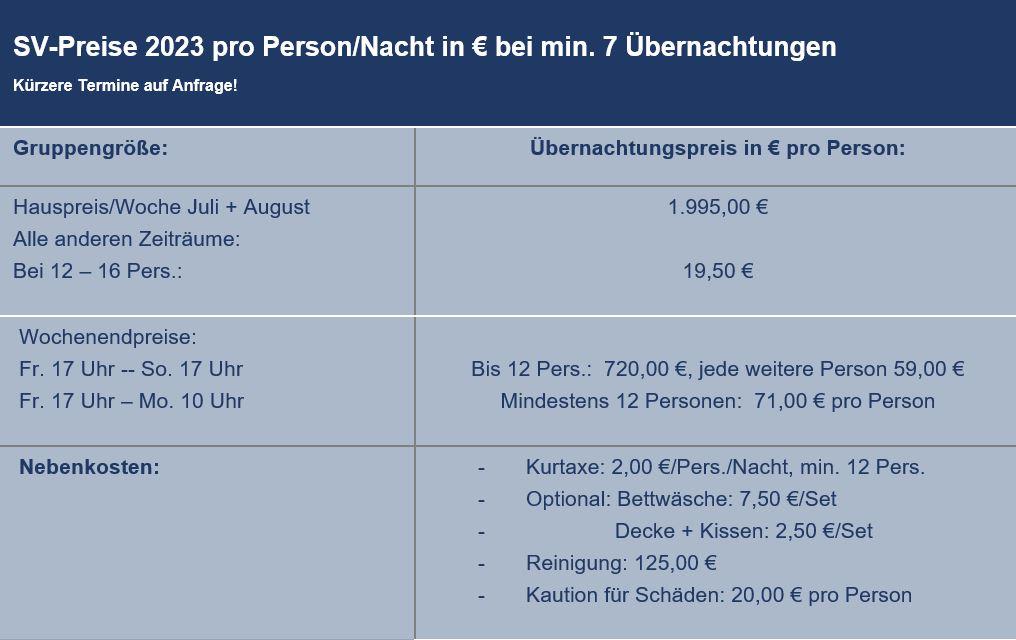 Preisliste vom Gruppenhaus 03313075 Oostkapelle Koetshuis in Niederlande 4356 OOSTKAPELLE für Gruppenreisen
