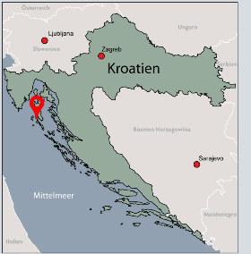 Karte von der Gruppenunterkunft 00380102 ZEBU<sup>®</sup>-Dorf MALI LOSINJ - L - KROATIEN in Dänemark 51550 Mali Losinj für Kinderfreizeiten