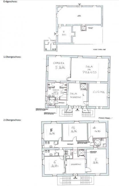 Grundrisse von der Gruppenunterkunft 05395560 Gruppenhaus CORTONA II in Dänemark I-52044 Cortona für Jugendfreizeiten
