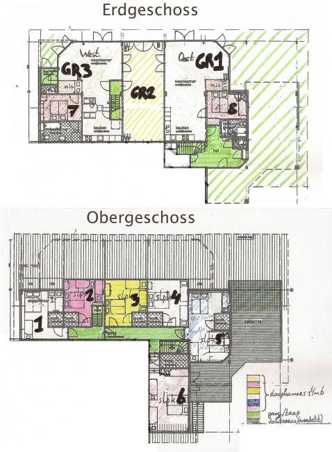 Grundrisse von der Gruppenunterkunft 00310173 Gruppenhaus ACHTERGRACHT in Dänemark 1738 DW Waarland für Jugendfreizeiten