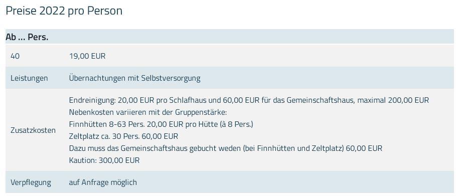 Preisliste vom Gruppenhaus 07497009 Gruppenhaus Süsel in Deutschland 23701 Süsel für Gruppenreisen