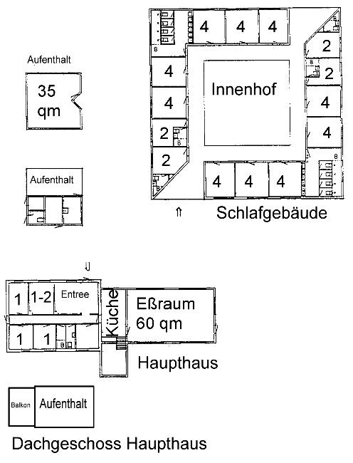 Grundrisse von der Gruppenunterkunft 03453804 KLK-Gruppenhaus - Noerrevang in Dänemark 4581 Roervig für Jugendfreizeiten