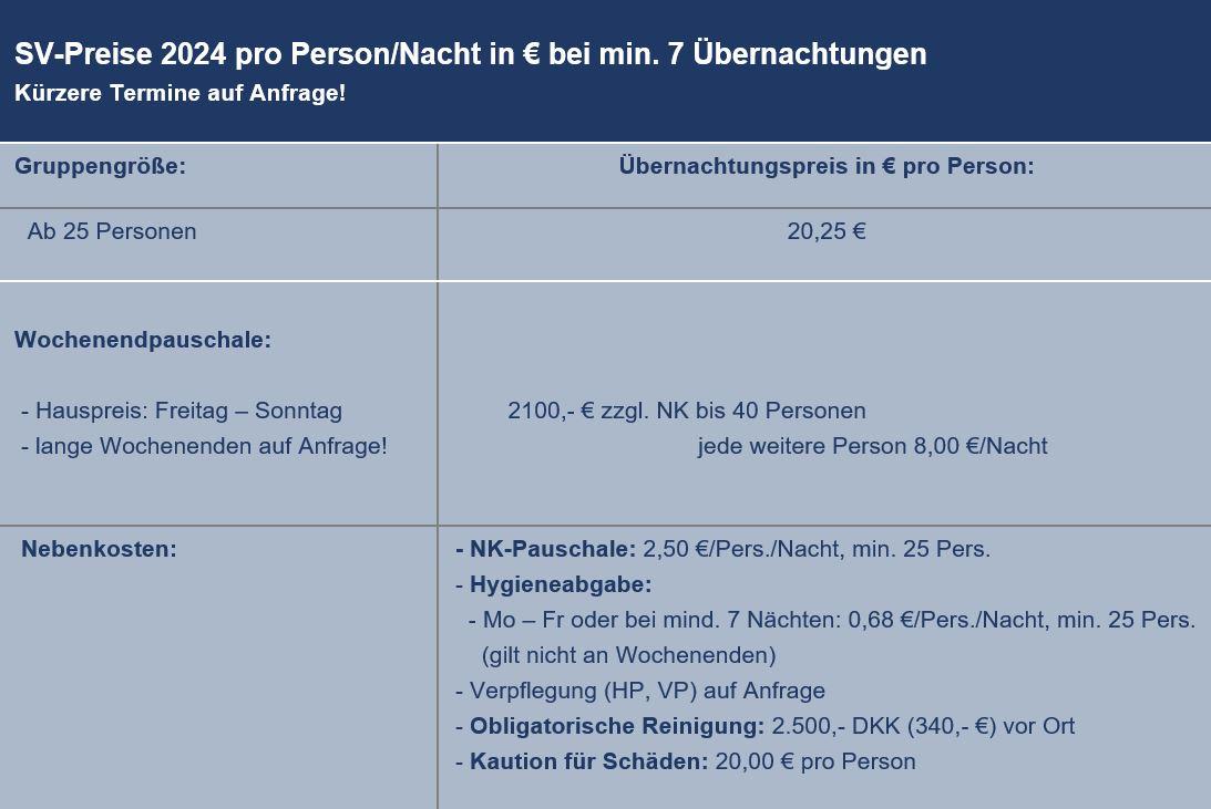Preisliste vom Gruppenhaus 03453805 KLK-Gruppenhaus - SKANSEN in Dänemark 4581 Roervig für Gruppenreisen