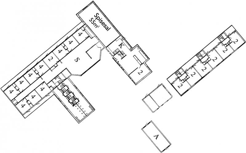 Grundrisse von der Gruppenunterkunft 03453807 KLK-Gruppenhaus - Feriegaarden in Dänemark 4560 Vig für Jugendfreizeiten