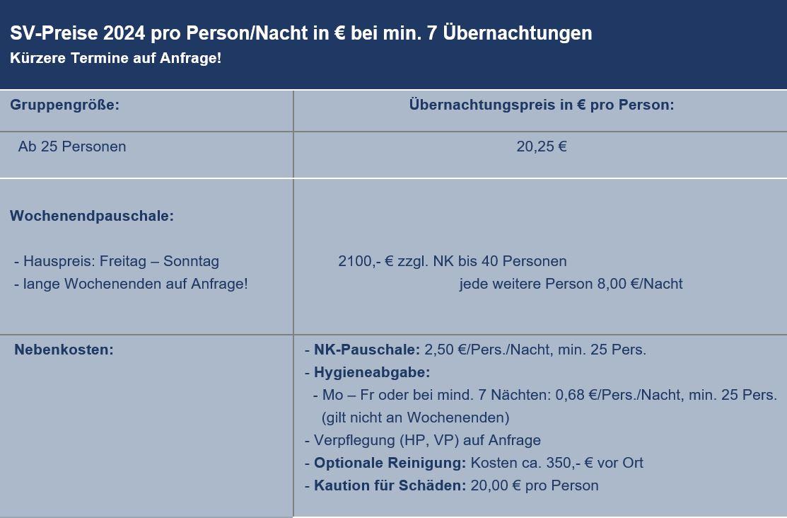 Preisliste vom Gruppenhaus 03453807 KLK-Gruppenhaus - Feriegaarden in Dänemark 4560 Vig für Gruppenreisen
