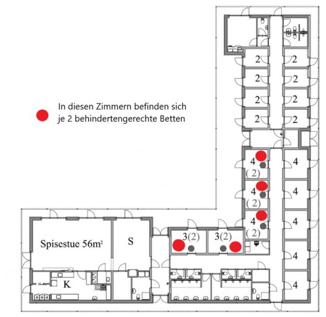 Grundrisse von der Gruppenunterkunft 03453844 KLK-Gruppenhaus - NAESBYSTRAND in Dänemark 4200 Slagelse für Jugendfreizeiten